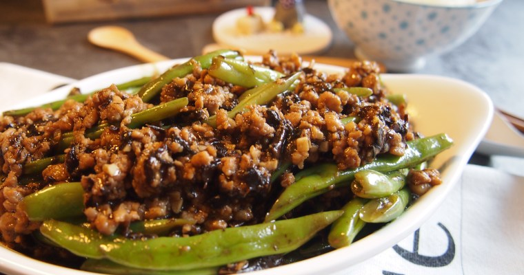 EASY Chinese Sauteed French Beans with Minced Pork & Preserved Olive Vegetables