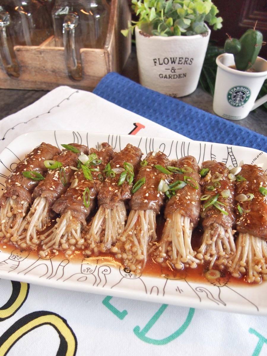 Super Easy Japanese Enoki Mushroom Beef Rolls In
