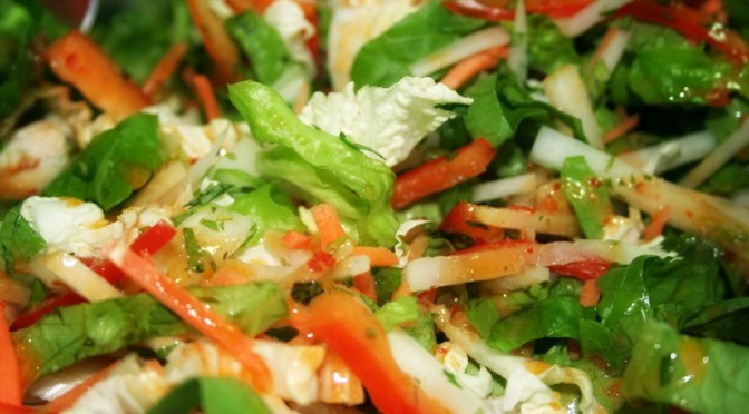 Thai Chopped Salad with Crisp Noodles and Herbs