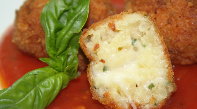 Arancini (Sicilian Fried Rice Balls or Supplí)