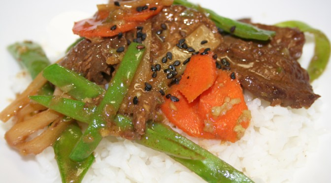 Ginger Beef with Snow Peas