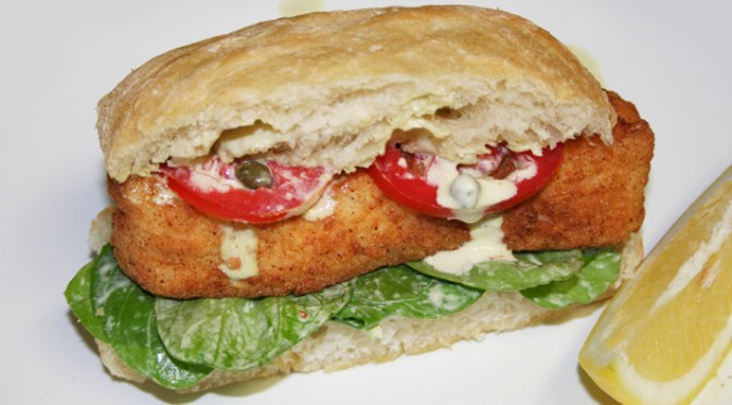 Crispy Halibut Po'boy with Caper Aioli