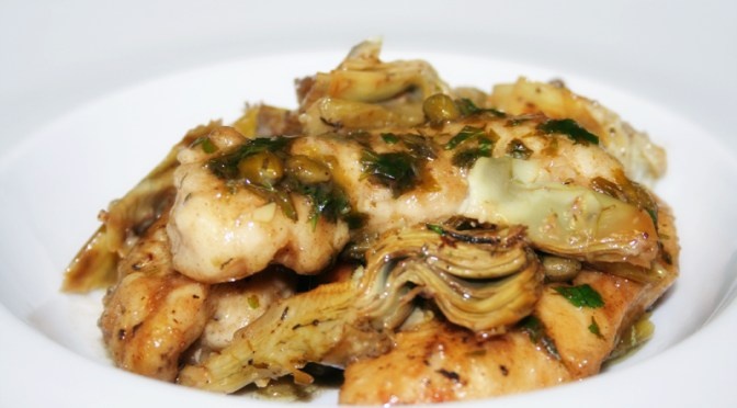 Chicken Piccata with Braised Artichokes