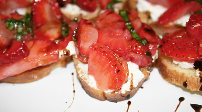 Strawberry and Goat Cheese Crostini with Chocolate Olive Oil