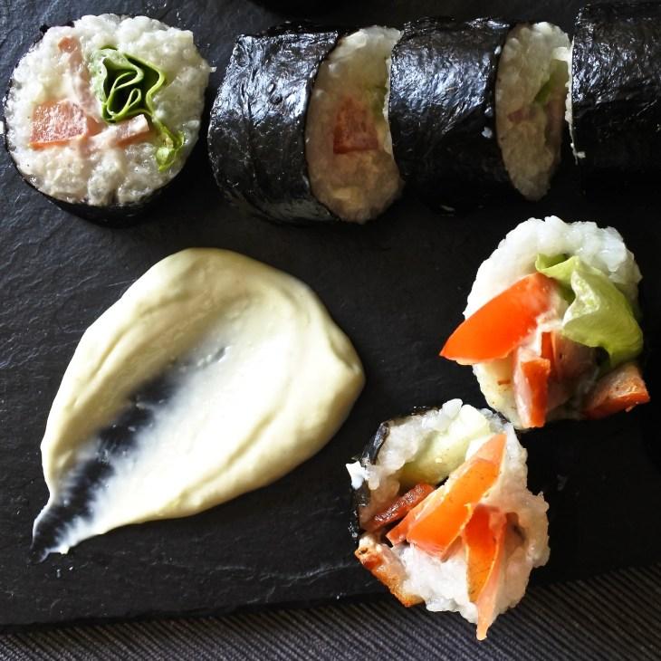 BLT sushi rolls with wasabi mayo