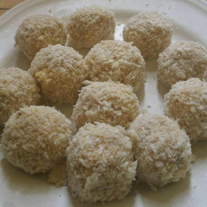 panko encrusted meatballs on a plate