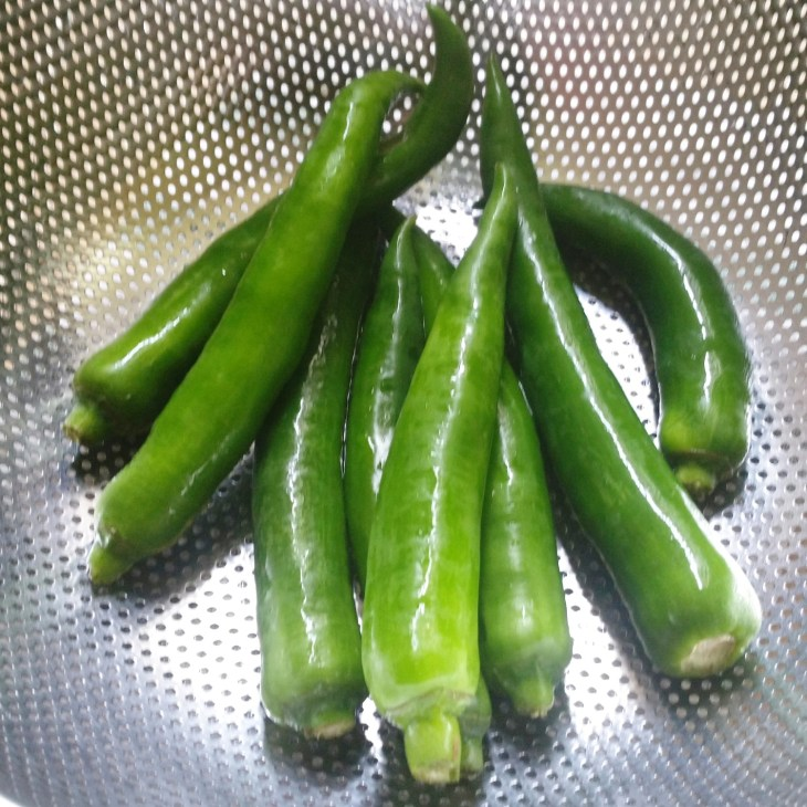 raw green chilis in a colander
