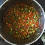 Cajun stew simmering with chopped okra