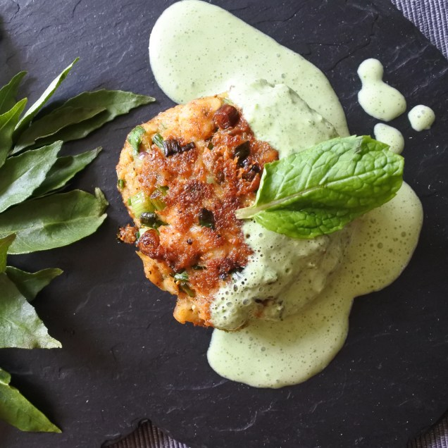 Indian spiced Fish cakes with Mint Sauce