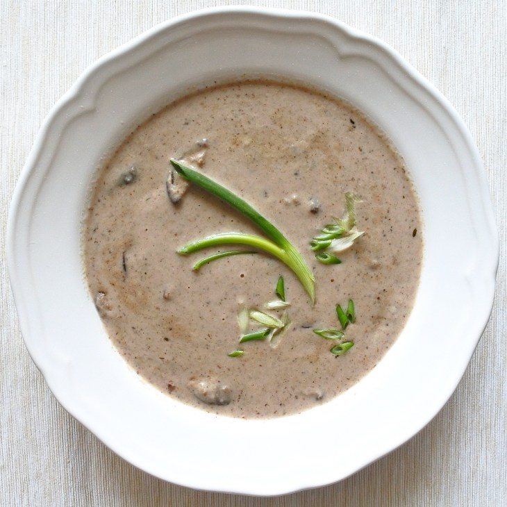mushroom soup garnished with scallions