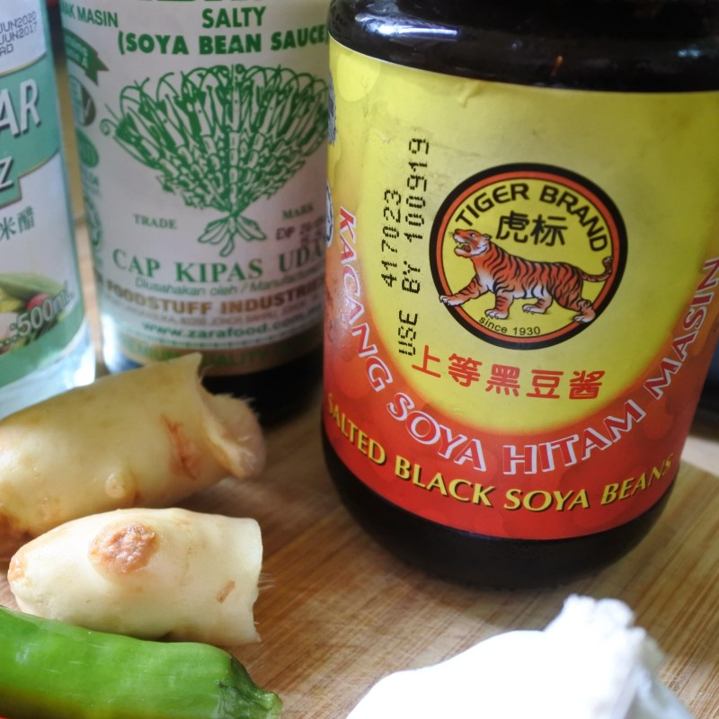 jars of Chinese black bean sauce and soy sauce