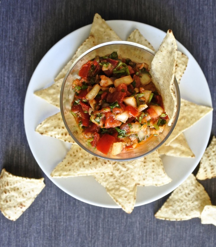chopped fresh salsa with tortilla chips