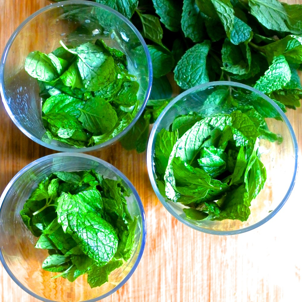 mint in a glass for a mojito