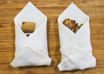 envelope of puff pastry around bacon and mushrooms