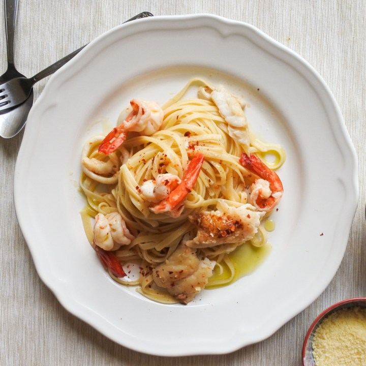 Fresh seafood tossed with linguine
