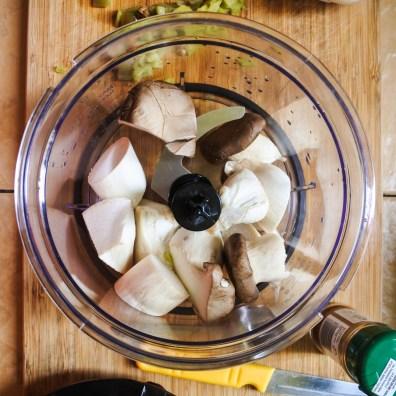 mushrooms in food processor