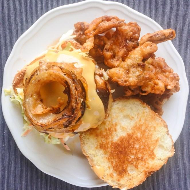 armadillo pork burger with fried mushrooms
