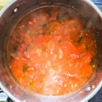 Add chicken broth and stewed tomatoes, bring to a boil, then reduce heat and simmer for 20-30 minutes.