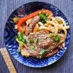Wok Fried Beef Noodles in a bowl