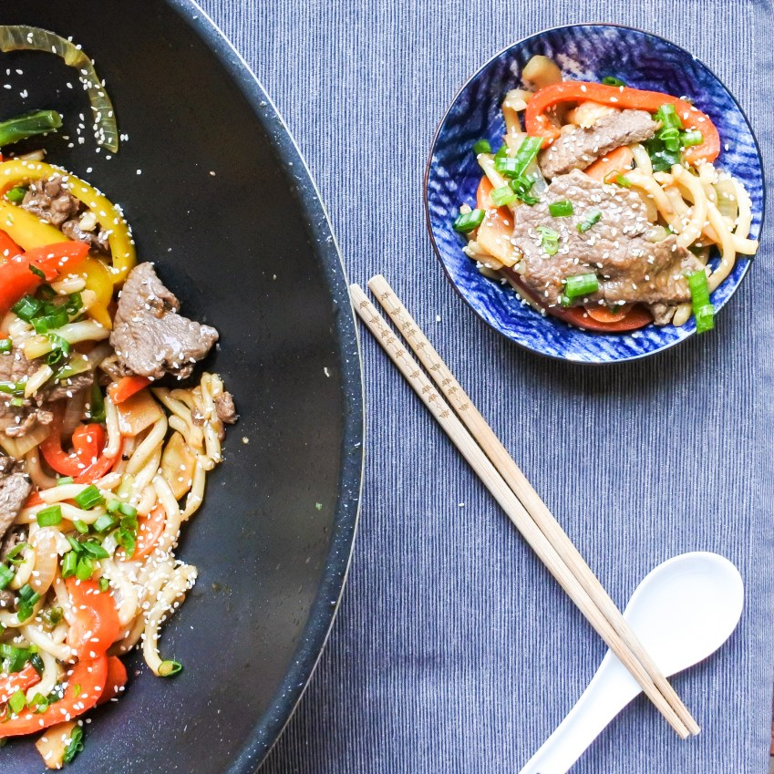 Wok Fried Beef Noodles.