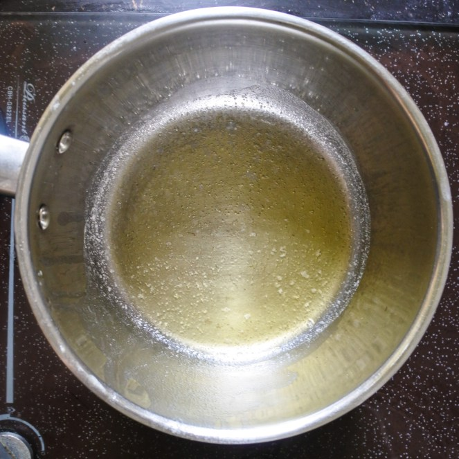 clarified butter in a pan
