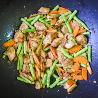 Add chicken and stir-fry together and cook for 1-2 minutes.