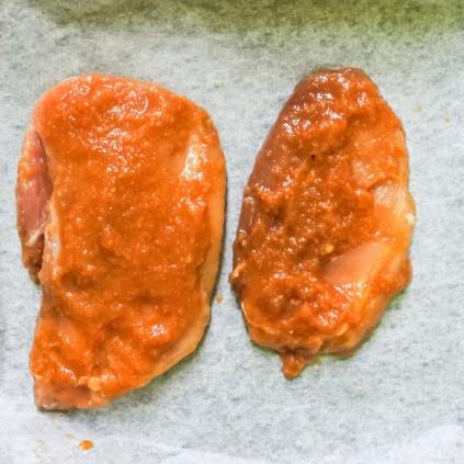raw marinated pork
