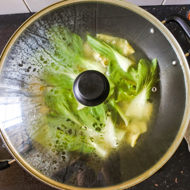 cooking lid on pot with wontons inside