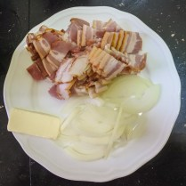 Cut bacon into smaller pieces (about 1 in/2 cm squared)