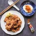 Karaage chicken, shichimi togarashi powder and mayonnaise
