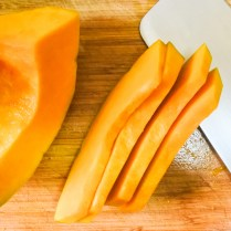 Cut pumpkin into thin slices no wider than 1 cm (0.5 in) wide. You can cut it thinner or shorter if you like. The preference is yours.