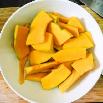 Sliced pumpkin in a bowl