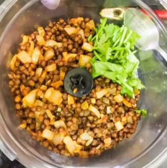 lentil mixture in a food processor