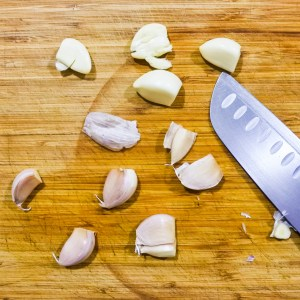 garlic cloves removed from shell