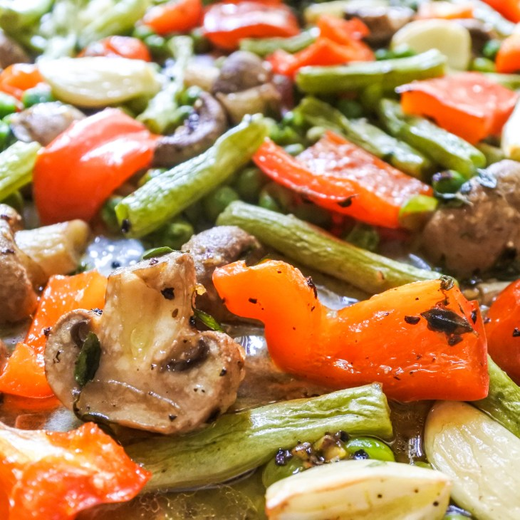 Roasted vegetables on an oven tray
