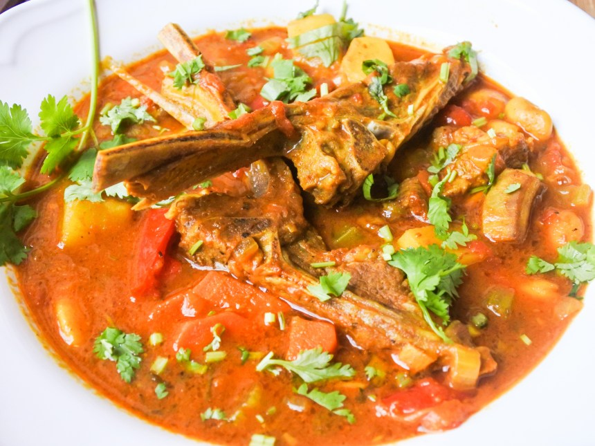 Lamb and Butter Bean Stew garnished with fresh cilantro