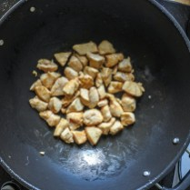 Add 2 tbsp of cooking oil to a wok and heat on high. When everything is hot, add marinated chicken and cook until no longer pink. This should take about 2-3 minutes (depending on heat of wok). Remove chicken with slotted spoon from wok and set aside.