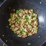 chicken frying with leeks/scallions