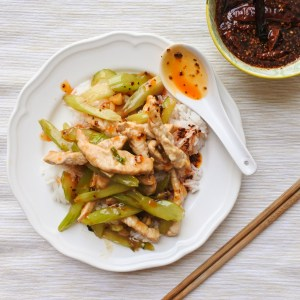 Pork and celery stir-fry drizzled with Chinese Chile Oil