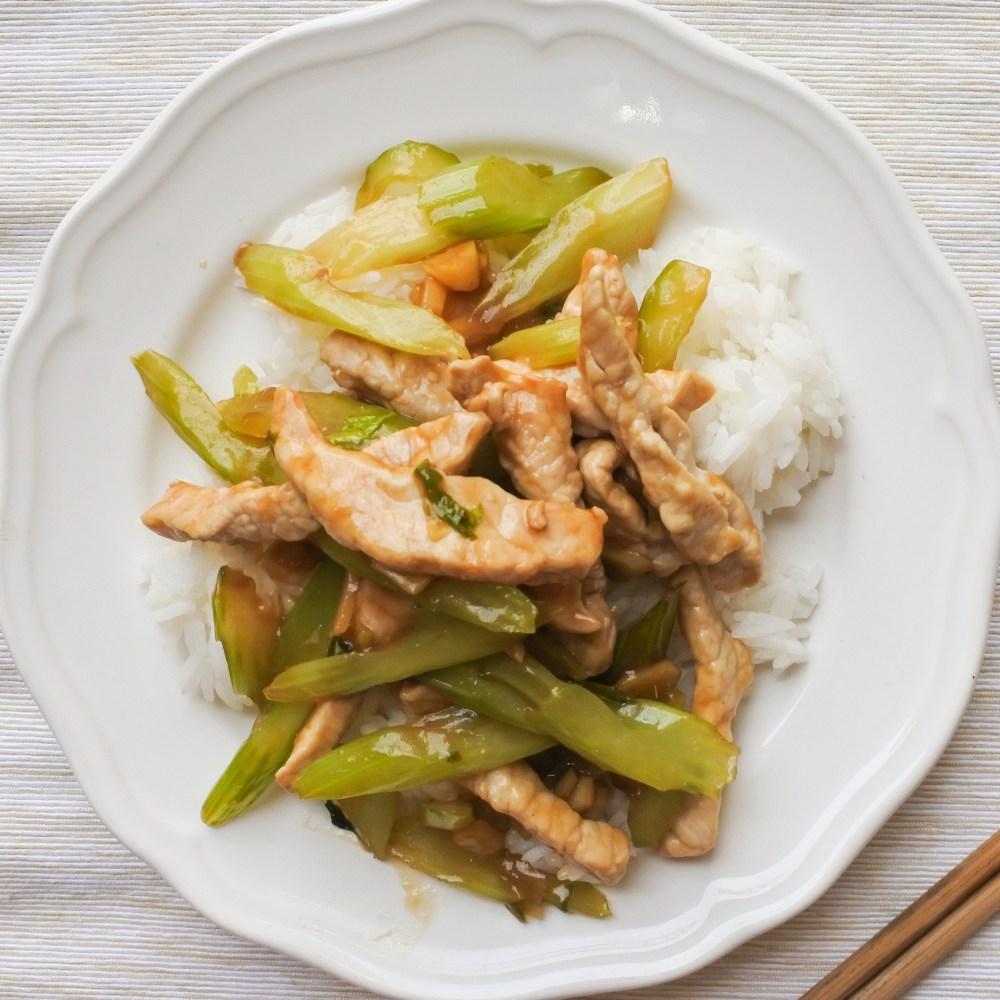 pork loin and celery stir-fry over steamed rice