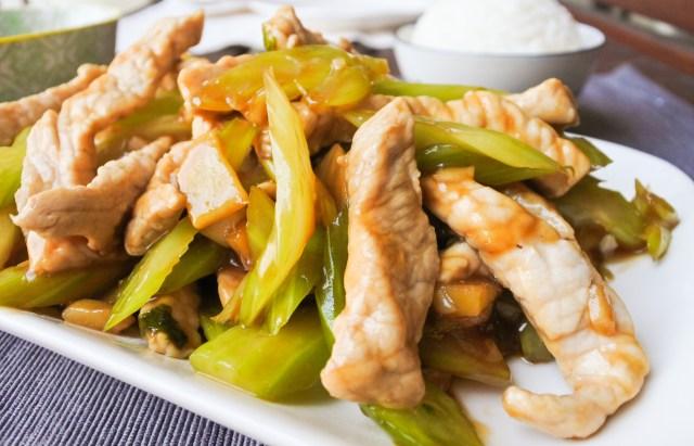 pork loin and celery stir-fry with steamed rice