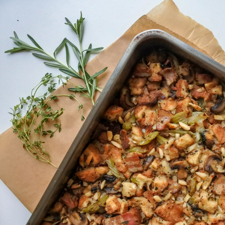 Bacon and almond herb stuffing with fresh thyme and rosemary