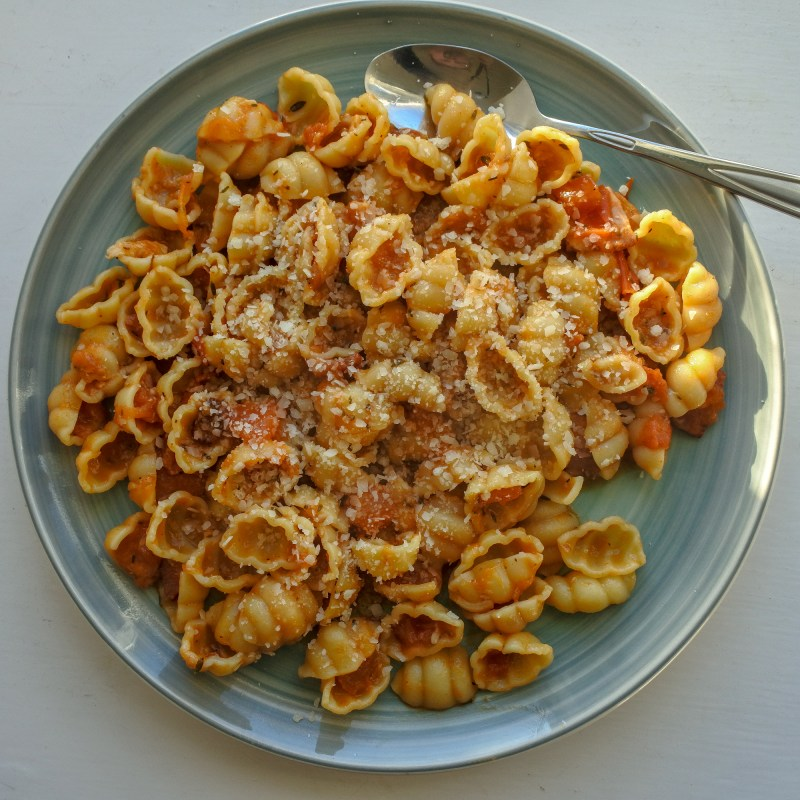 pasta shells tossed in a bacon and tomato sauce and sprinkled with cheese on a plate
