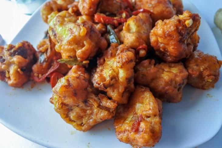 Gobi 65 (spicy fried cauliflower) on a plate