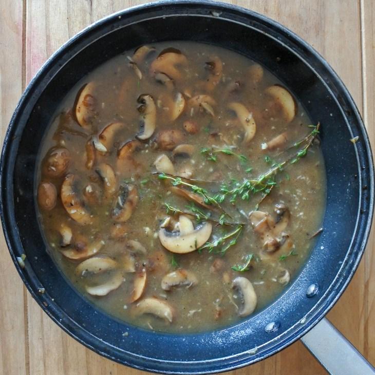 mushroom sauce in a pan