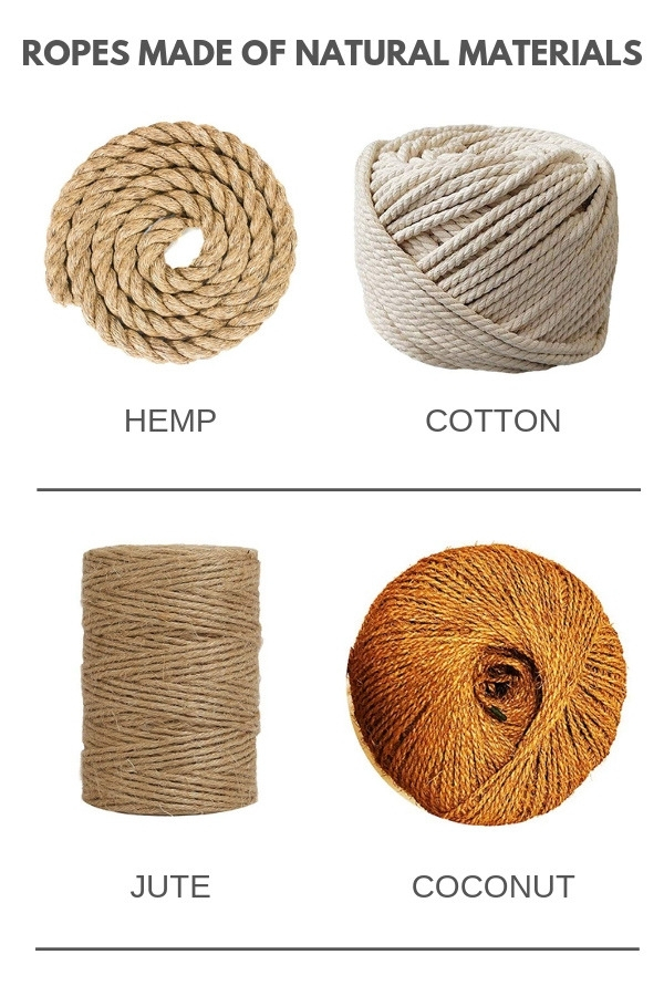Types of rope made of natural materials - hemp, cotton, jute, coconut
