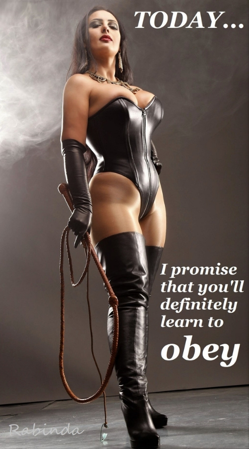 Tumblr photo of a female dominant with a caption