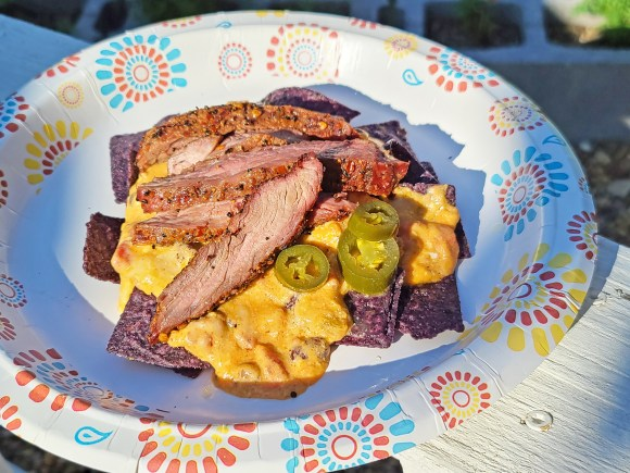 Smoked Queso and Steak Nachos