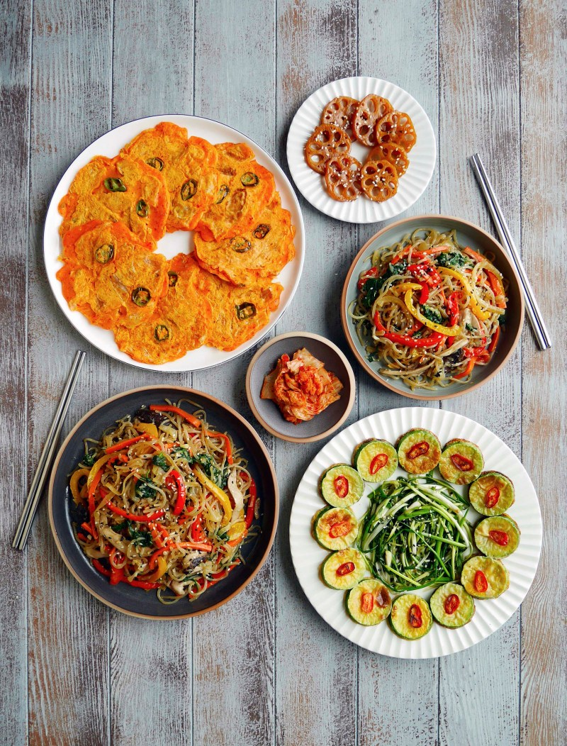 "Korean new year celebration foods ""Japchae"" and ""Aehobak jeon"""