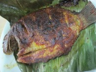 Fish that's steamed inside a banana leaf